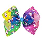 Floral Fall Girls Valentine's Day Gift Large Unicorn Bows Clips love Hair Bow BY-50 (Unicorn Colorful)