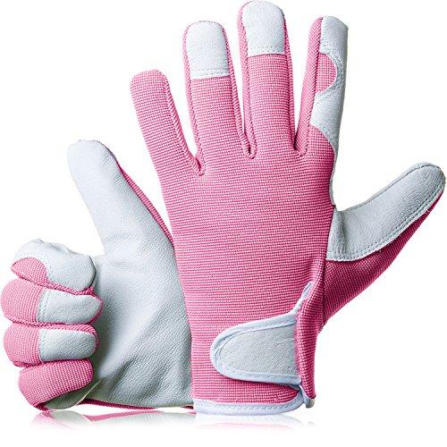 GardenersDream Leather Gardening / Work Gloves - Medium Comfy Slim-Fit Premium Quality Gloves - Ideal Gift for Men, Women (Feminine/Ladies) - Anniversary, Birthdays or Christmas (Mellow Pink)