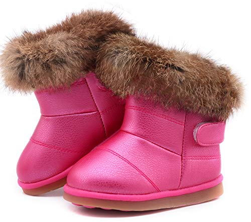 Femizee Toddler Girls Fully Fur Lined Waterproof Winter Snow Boots,Hot Pink 1934 CN26