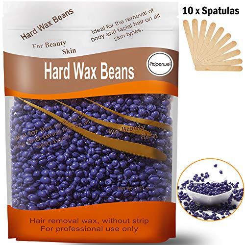 Hard Wax Beans, Auperwel Hair Removal Hard Body European Waxing Beans, Brazilian Pearl Hard Wax Beads for Women Men Home Waxing Include 10 Waxing Spatulas for bikini, Arms, legs, Armpit 300g/10oz