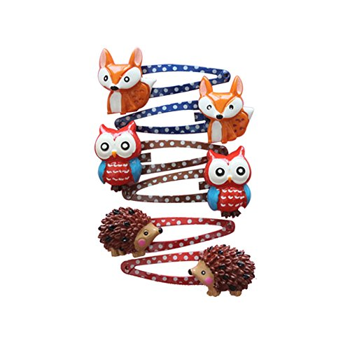 Lovely Animal Hair Clip Mini Cartoon Owl and Fox Hedgehog Hair Clip Set Little Girl Hair Accessory-Style 3