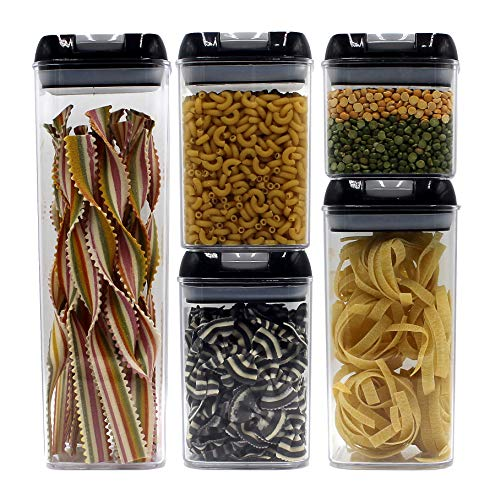 HOME + HEART Airtight Dry Goods Storage Container 5 Piece Set With Durable Air Tight Lids - Reinforced Locking Handles - Stackable Canister Sets for Pasta, Grains, Snacks, Sweets & Baking Supplies