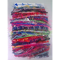 Mixed YARN Fiber Variety Bundle: Lot of 50 different 3 yard lengths Weaving Jewelry Quilting Arts Crochet Knitting +