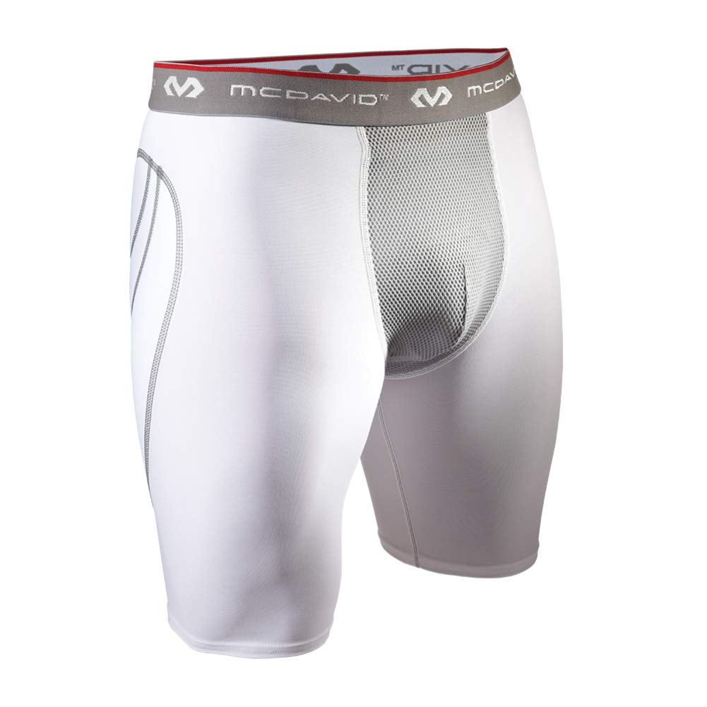 Adult Sliding Short, White/Gray, Large by McDavid