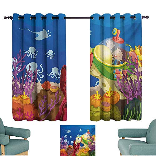 DONEECKL Kids Room Curtains Turtle Funny Cartoon Character Carrying Kids Underwater Coral Reef Octopus Nursery Design Noise Reducing Curtain W63 xL63 - Turtle Tortilla Island