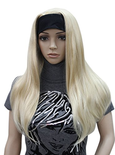 (Long Straight 3/4 half Full wig hair headband Women Daily Natural Hivision wig (Butterscotch Golden & Pale Blonde Mix))