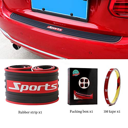 EverBrightt Trunk Rubber Protection Strip Rear Bumper Protector Cover Car Accessory with 3M Tape Black + Red Set of 1