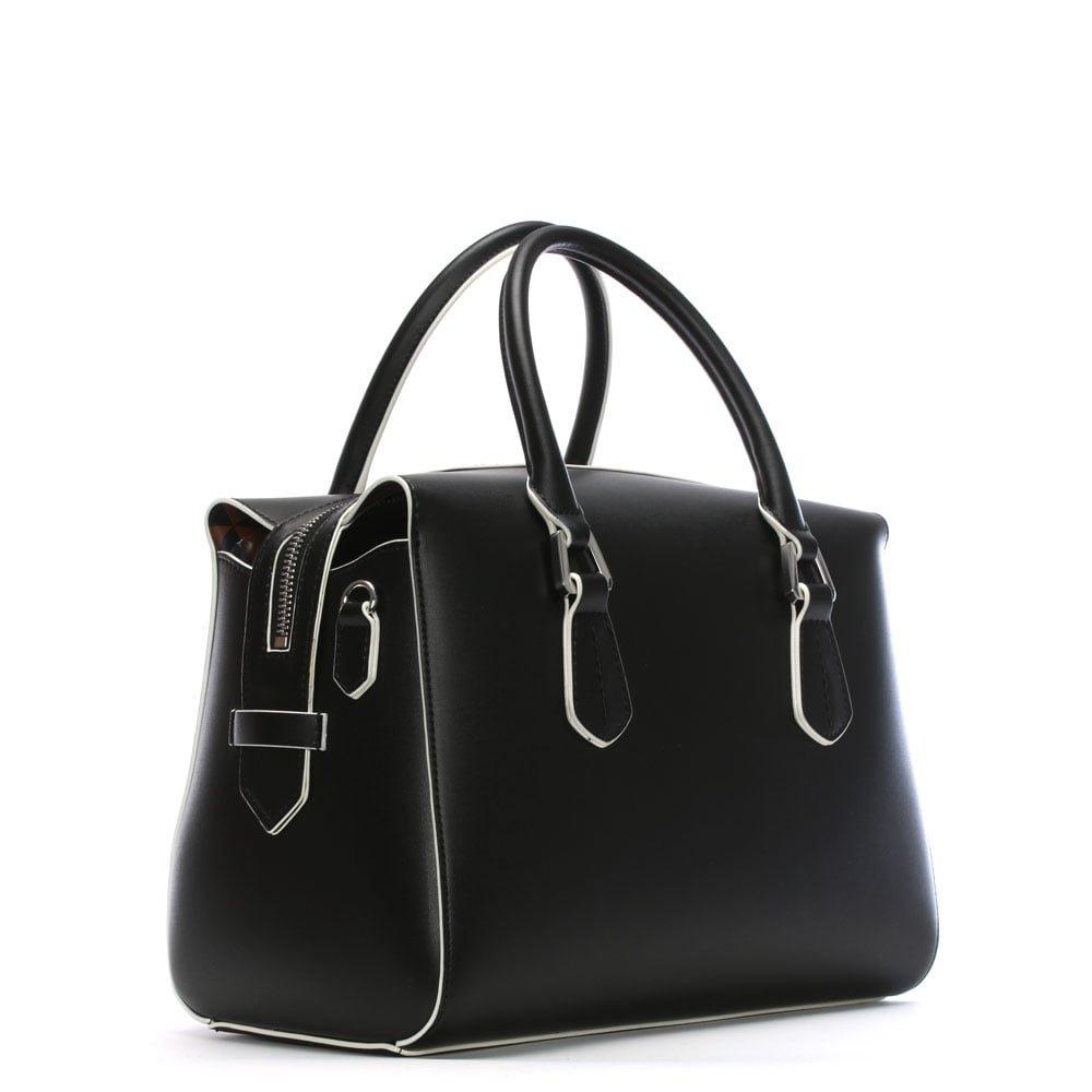 Emporio Armani Wilma Black Top Zip Day Bag Black Leather  Amazon.co.uk   Shoes   Bags 8e81b7c0e0e7d