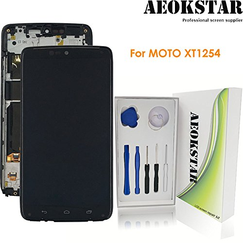 Aeokstar For Motorola Droid Turbo XT1254 Moto Maxx XT1225 LCD Touch Screen Digitizer Glass Assembly Replacement with Frame & Full Repair Tools Kit (Black) from AEOKSTAR