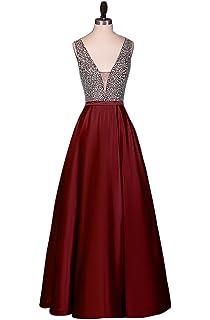 Hongfuyu Prom Dresses Sparkly Crystal Beaded V Neck Open Back Long