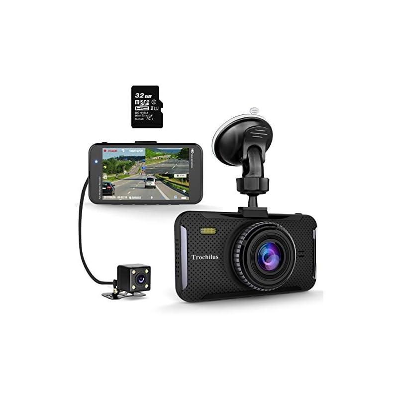 """Trochilus Dual Dash Cam 4"""" 1080P Front a"""