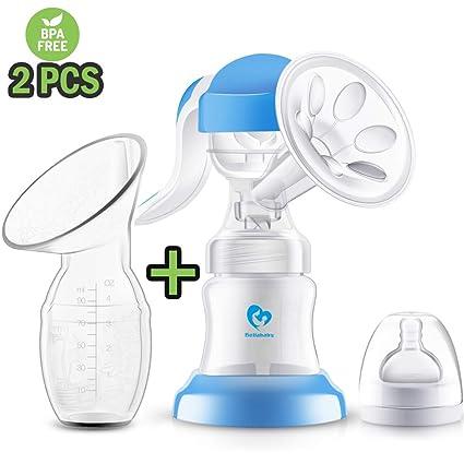 Sacaleches Manual, [2 paquetes] Bellababy extractor de leche materna portátiles de silicona con