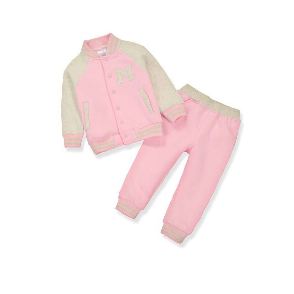 Cute On Kids Boys Girls Long Sleeve Baseball Tracksuit Jacket + Trouser Sports Suit Outfits Set Age 1-5 Years