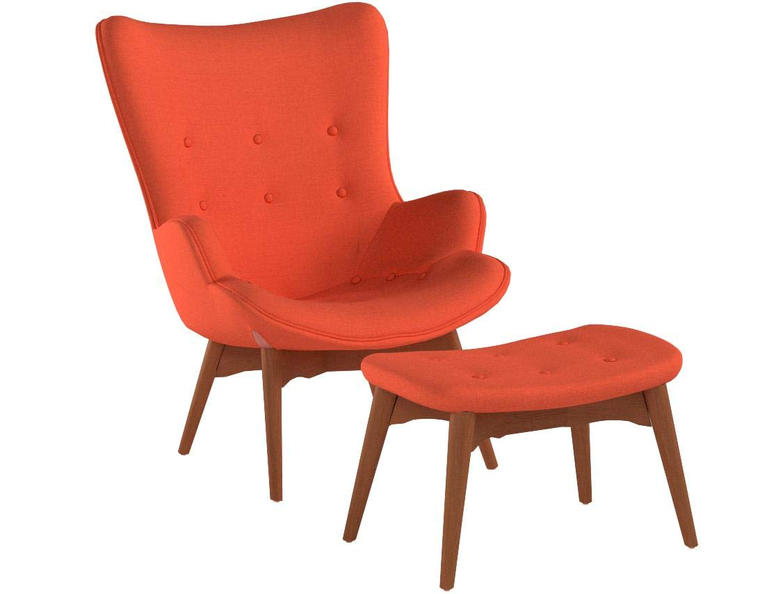 Christopher Knight Home Acantha Mid Century Modern Retro Contour Chair with Footstool, Muted Orange by Christopher Knight Home