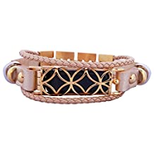 FitBit flex Jewelry - Fitbit Bracelet FUSION 2- stainless steel - real leather - Fitbit Flex replacement band - (Gold, L-XL (7.5-9 inch))