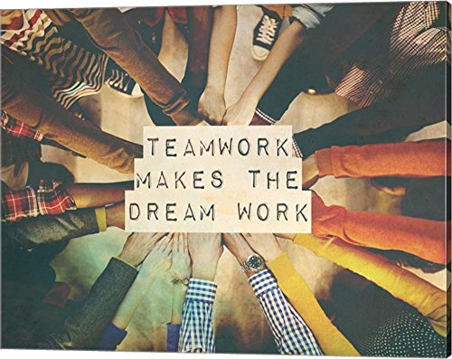 Teamwork Makes The Dream Work Stacking Hands Color by Color Me Happy Canvas Art Wall Picture, Gallery Wrap, 20 x 16 inches