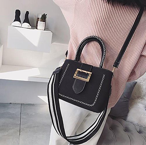 Wide Ladies Wild Shoulder Girls Strap Black Bag Top handle Crossbody Bags Bag For Bags Retro Shoulder TSwqtSr