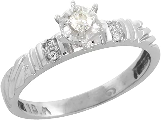 Sterling Silver Diamond Engagement Ring Rhodium finish 1//8inch wide