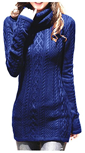 v28 Women Polo Neck Knit Stretchable Elasticity Long Sleeve Slim Sweater Jumper (US SIZE 6-10, blue) ()