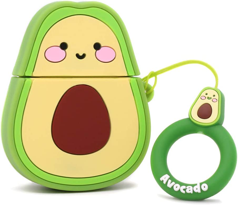 Yonocosta Cute Airpods Case, Airpods 2 Case, Funny 3D Cartoon Fruit Avocado Case, Soft Silicone Full Protection Shockproof Charging Case Cover with Keychain Airpods 1&2 case for Kids Girls Boys Women