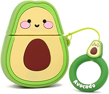 Yonocosta Funny 3D Cartoon Fruit Avocado Airpods Case with Keychain