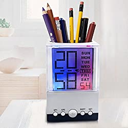 Homily Pen Holder Desktop Alarm Clock LCD Large Display 7 Color Light Changing Square Table Clocks With Thermometer Calendar