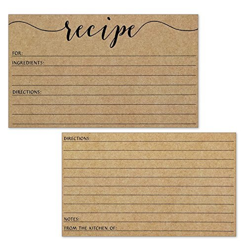 Recipe Cards - Size 3x5 - Small Kraft Brown Lined Kitchen Note Card for Recipe Box - Set of 50 by Wedding Advice Cards