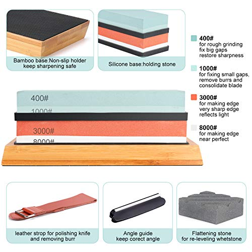 Knife Sharpening Stone Set, SXTWBK Dual Grit 400/1000 3000/8000 Whetstone, Pro Kitchen Knife Sharpener Stone Set with Non-slip Bamboo Base, Angle Guide, Flattening Stone and Leather Strop
