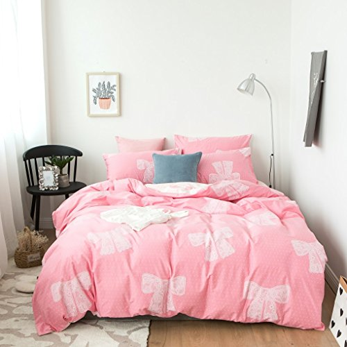 Duvet Cover Set Twin Size 3 Piece (1pc Duvet Cover + 1pc Flat Sheet + 1pc Pillowsham) by WarmGo, 100% Cotton Bedding Set with Lace Bow Tie Pattern - Not Include Comforter by WarmGo