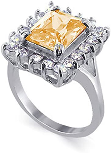 Sterling Silver Square Champagne White CZ Womens Right Hand Ring 7