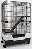 Dreamhome Heavy Duty Chinchilla Cage with Urine Guard - 3-story - 24x17x38' - Brown