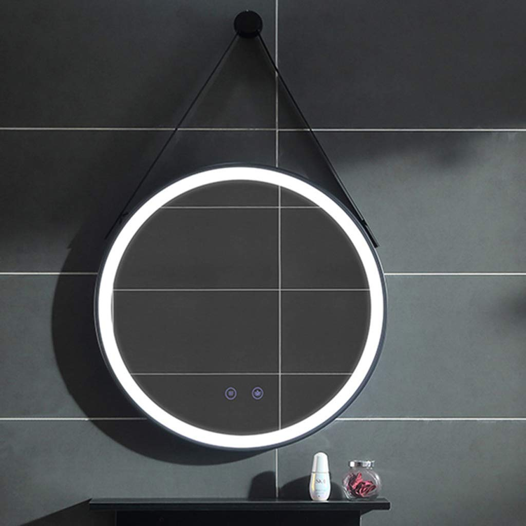 Cord/ón Desempa/ñado Redondo Marco Negro De 70 cm Principalmente Utilizado En El Ba/ño Espejos de pared Con Iluminaci/ón LED De Estilo Chino Moderno con Cable De Alimentaci/ón Luz Blanca