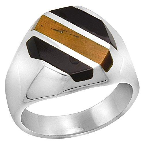 Sterling Silver Obsidian & Tiger Eye Ring for Men Octagonal 3 Stripes Solid Back Handmade, size 12