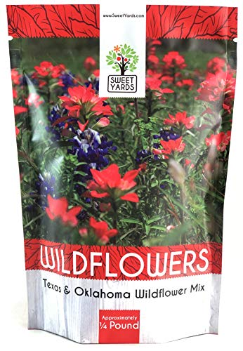 (Texas Oklahoma Wildflower Seeds Mixture - Bulk 1/4 Pound Bag - Over 60,000 Native Seeds - Open Pollinated and Non GMO)