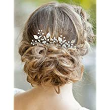 Yean Silver Bridal Hair Pins Set, Wedding Leaf Hair Pin for Women and Girls (Set of 2)