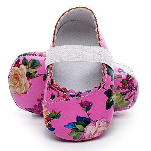 (HONGTEYA Print Flower Baby Girls Shoes Mary Jane Baby Sandals (6-12M/4.72inch, hot Pink Flower))