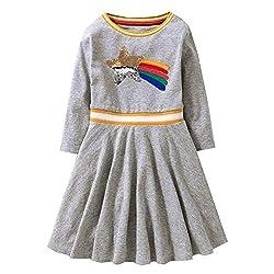 Cartoon Flower Cotton Long Sleeve Winter Dresses