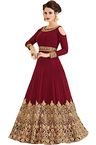 Indian Wear & Ethnic Wear Long Gown Salwar Kameez (Red, ()