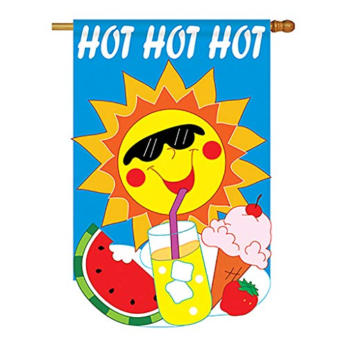 (Two Group - Hot Hot Hot Summer - Seasonal Fun In The Sun Applique Decorative Vertical House Flag 28