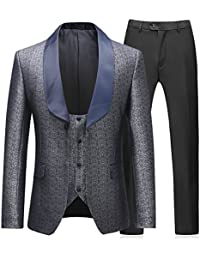Mens 3 Piece Tuxedo Suits Dinner Party Prom Groom Tuxedos(Jacket+Vest+Pants)