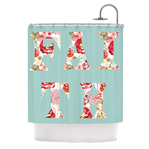 Kess InHouse Suzanne Carter 'FAITH' Blue Red' Shower Curtain (69x70) by Kess InHouse