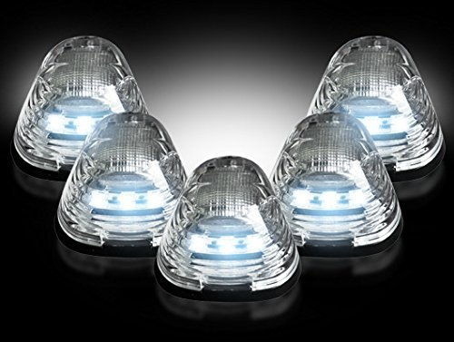Ford 99-15 Superduty (5-Piece Set) Clear Lens with White LED's - Complete Cab Light Kit with all wiring & hardware (Set Complete Truck Wiring)