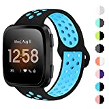 NANW Bands Compatible with Fitbit Versa/Versa 2/Versa Lite Small Large,Soft Silicone Replacement Band for Versa/Versa 2,Air Hole Wristband Strap for Women Men