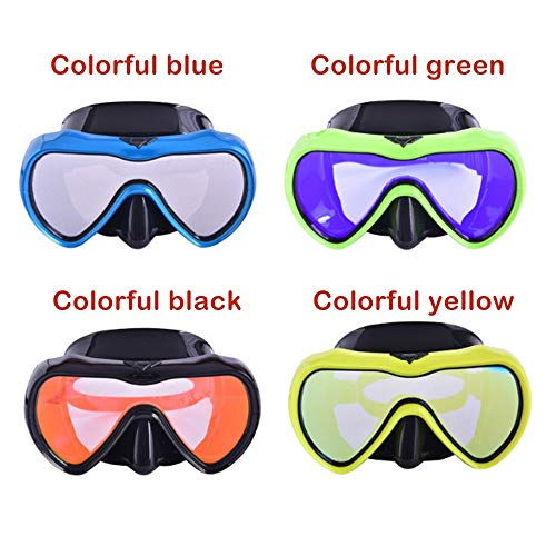 (Professional Snorkeling Mask Goggles for Adult Large Frame Anti-Fog Snorkeling Swimming Diving Mirror (a Package) (Color : Colorful Black))