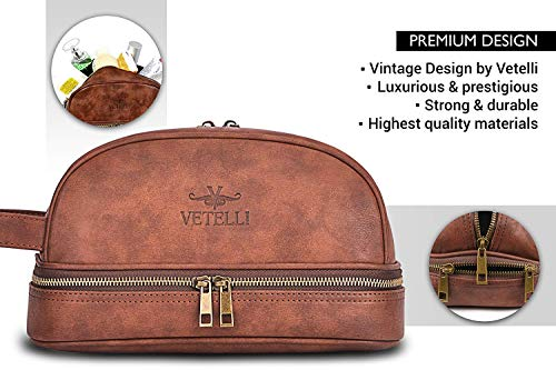 02affa590f67 Vetelli Leather Toiletry Bag For Men (Dopp Kit) with free Travel Bottles.  The