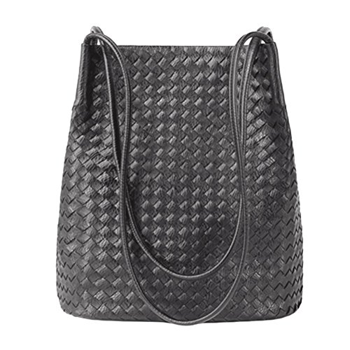 - Bucket Bags Womens Leather Handbags Purse Woven Totes Hobos Shoulder Bags,Grey
