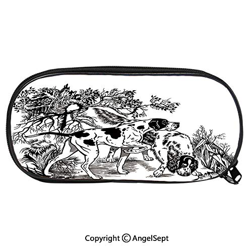 Child Pencil Case Hunting Dogs in Forest Monochrome Drawing English Pointer and Setter Breeds School Pen Bag Stationary Multipurpose Pouch for Girls Makeup Cosmetic BagBlack White ()