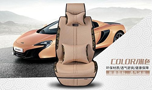 Creamy-white GAOFEI Universal Full Front Rear Ice Silk PU Fabric Car 5 Seats Cushion Cover for Most Car Seats