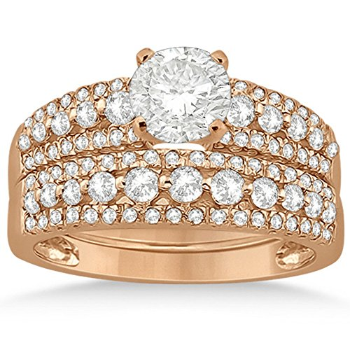 Three-Row Prong-Set Diamond Bridal Set in 14k Rose Gold (0.80ct) (No center stone included)