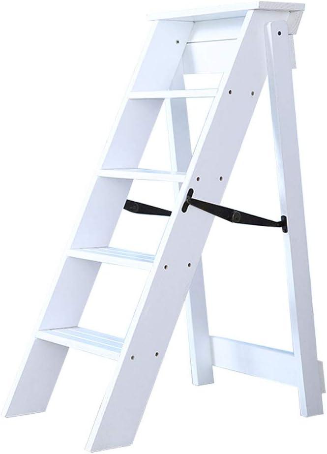 Multifunktions-Steigleiterregal 5-stufig Wei/ß Klappstufen Treppenleiter Klapphocker aus Holz f/ür K/üchen- // B/üro- // Bibliotheksleiter